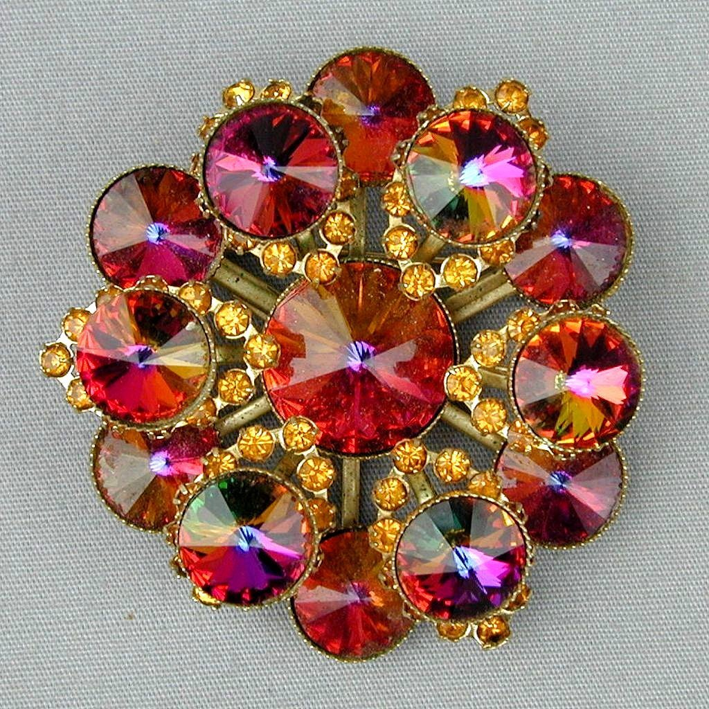 Vintage Rhinestone Pin Brooch - Tiered Big Watermelon Colors