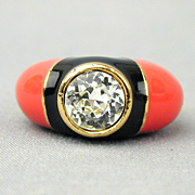 Vintage D'ORLAN Enamel Faux Diamond Ring - Adjustable - Bold