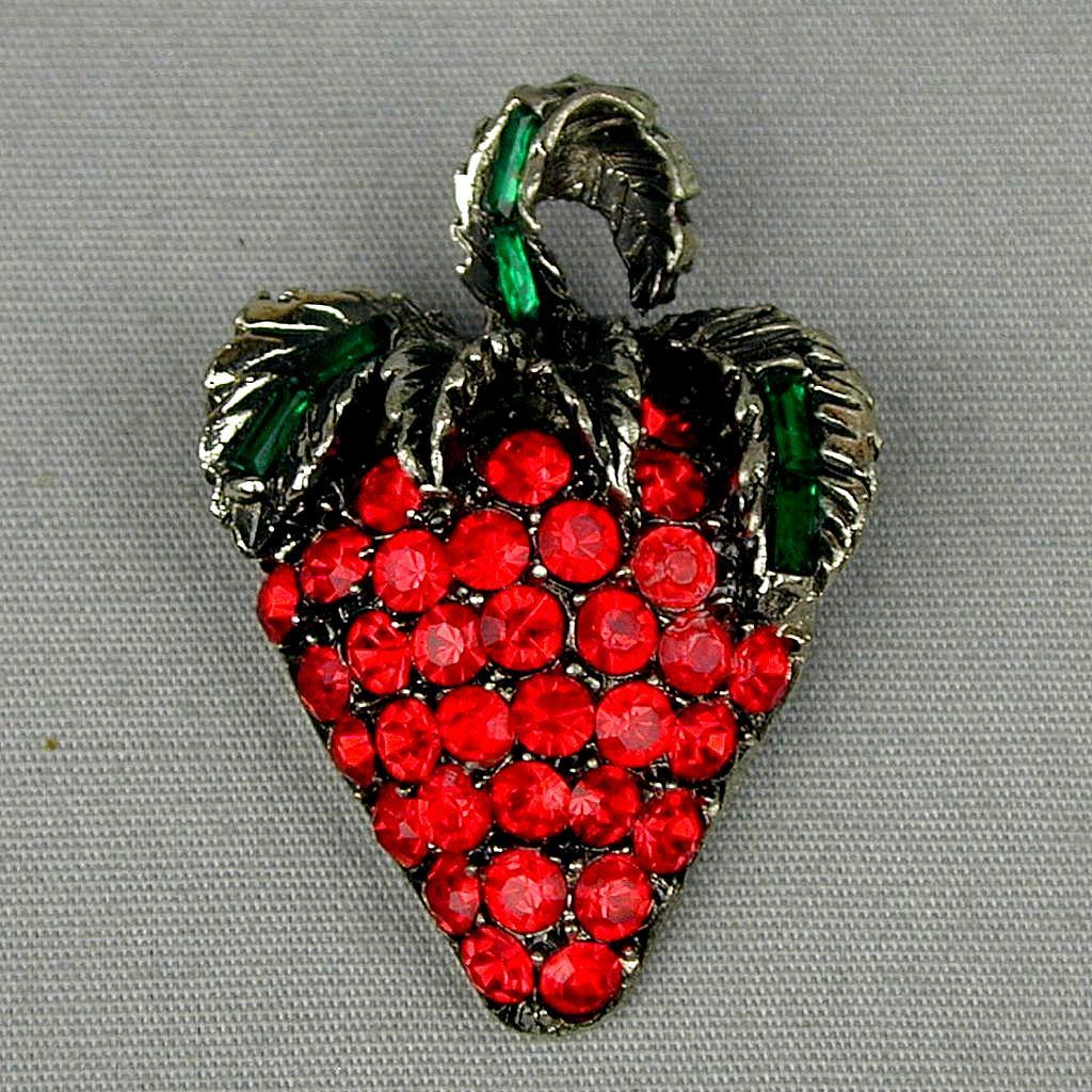 Vintage PELL Figural Red Rhinestone Strawberry Pin