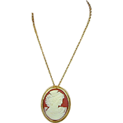 Large Vintage Costume Jewelry Cameo Pin / Pendant - Pretty Gal