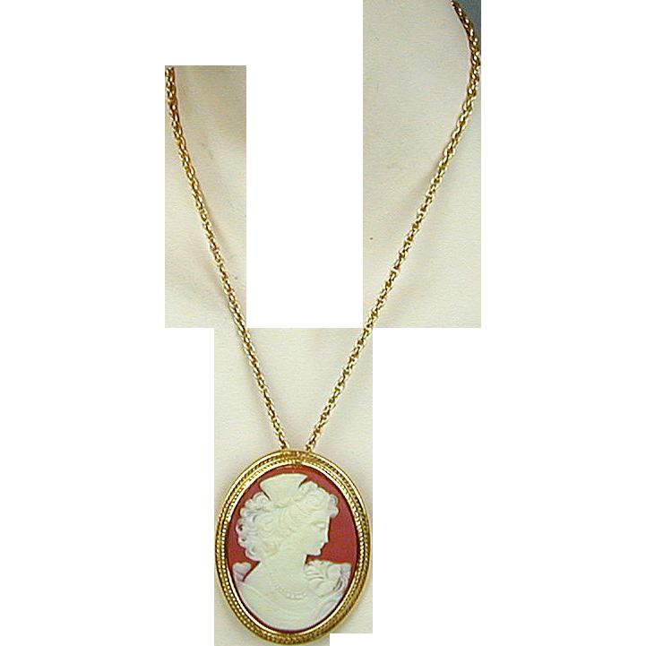 Large Vintage Costume Jewelry Cameo Pin / Pendant - Pretty ...