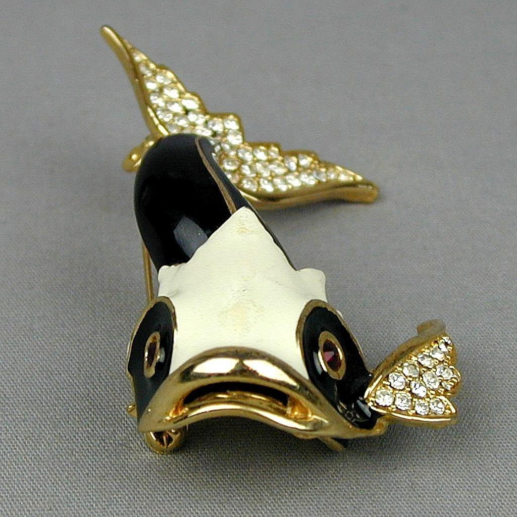 Vintage Enamel Rhinestone Fab Fat Figural Fish Pin Brooch