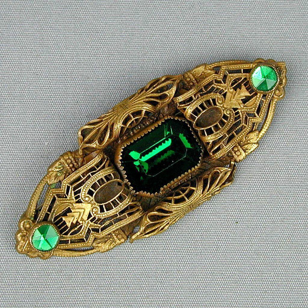 Art Deco Czech Brass Filigree Pin Brooch w/ Faux Emerald Rhinestones