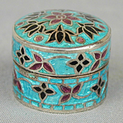 Miniature Sterling Silver Enamel Pill Box Colorful Little Cutie