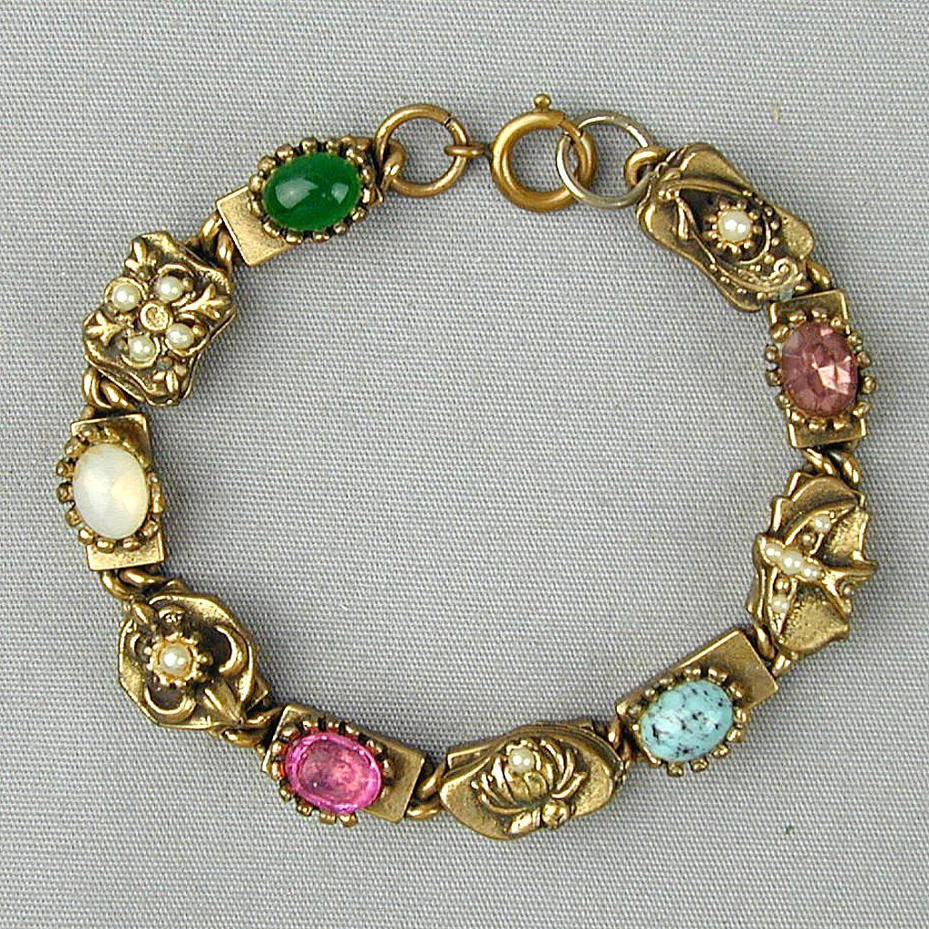 Vintage Jeweled Rhinestone Bracelet - Kinda Like a Slide Kind