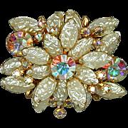 Crinkly Pearls w/ Aurora Borealis Rhinestones Stunning Brooch