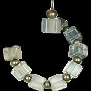 Vintage Jumbo Lucite Ice Cube Runway Necklace - Earrings Set