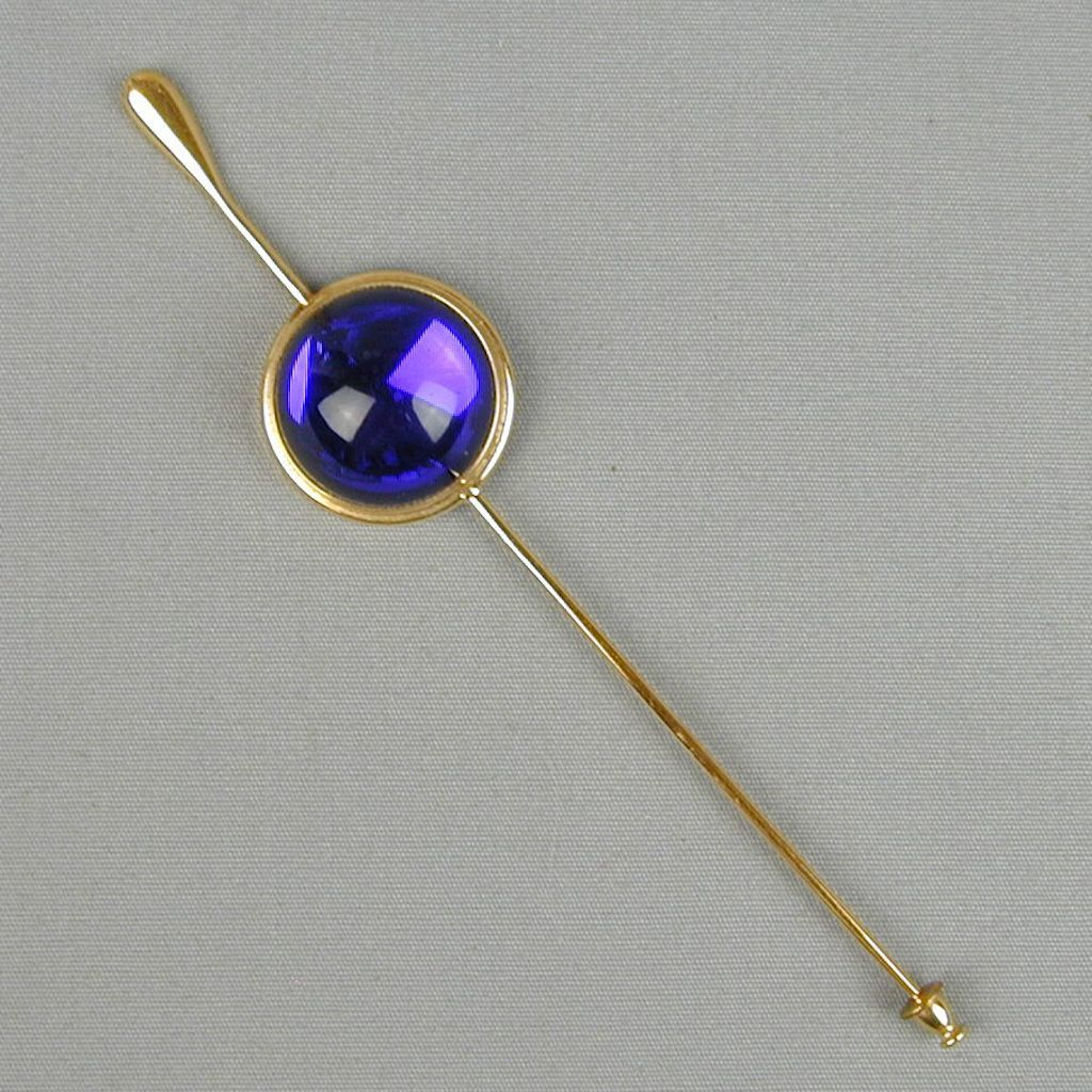 Vintage LALIQUE Stickpin Pin Brooch Cobalt Blue Cabochon Signed