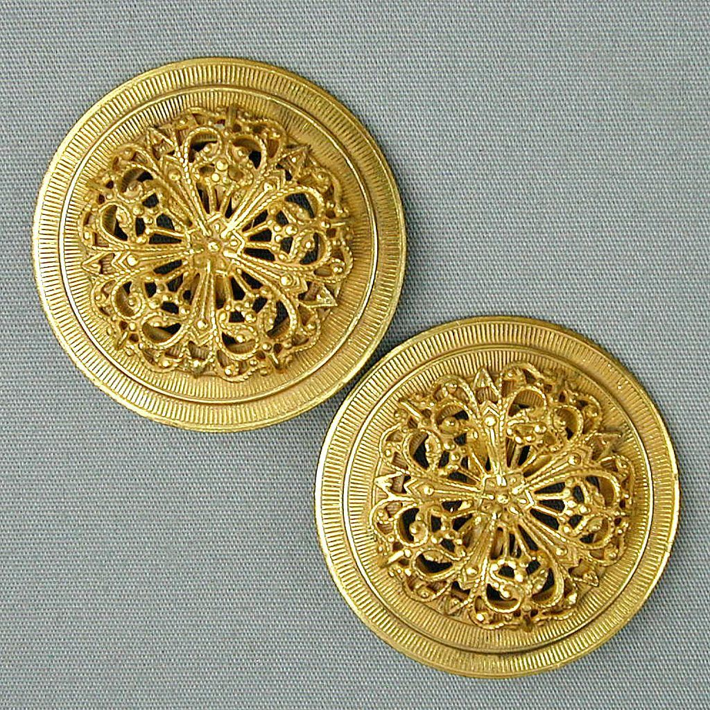 Vintage Miriam Haskell Gilt Filigree Large Round Clip Earrings