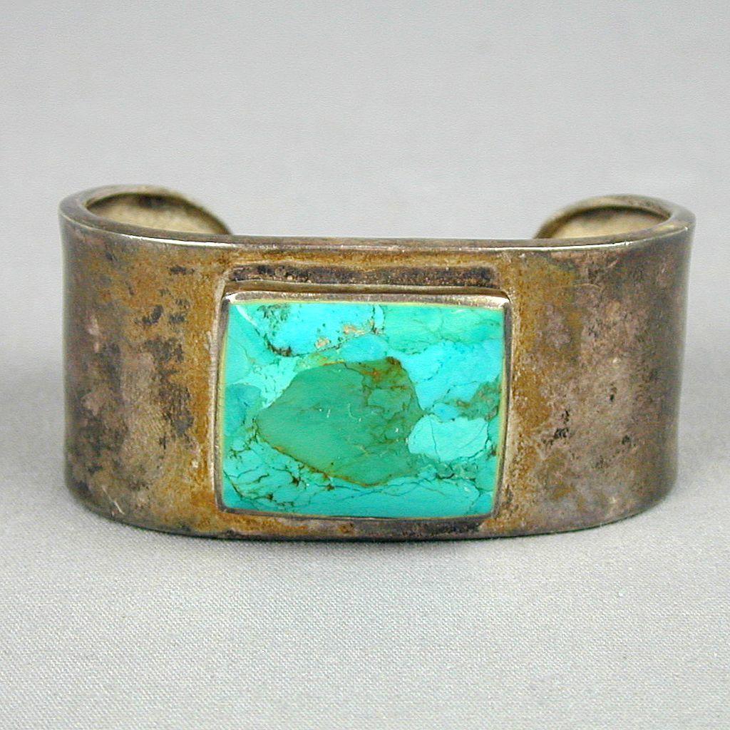 Southwest Heavy Sterling Silver Cuff Bracelet w/ Big Turquoise