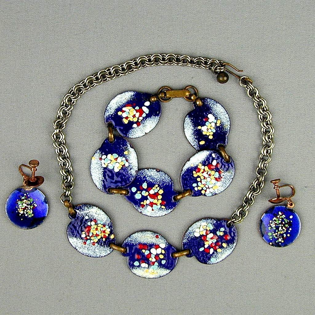 Mid-Century Enamel on Copper Parure Necklace Bracelet Earrings Set
