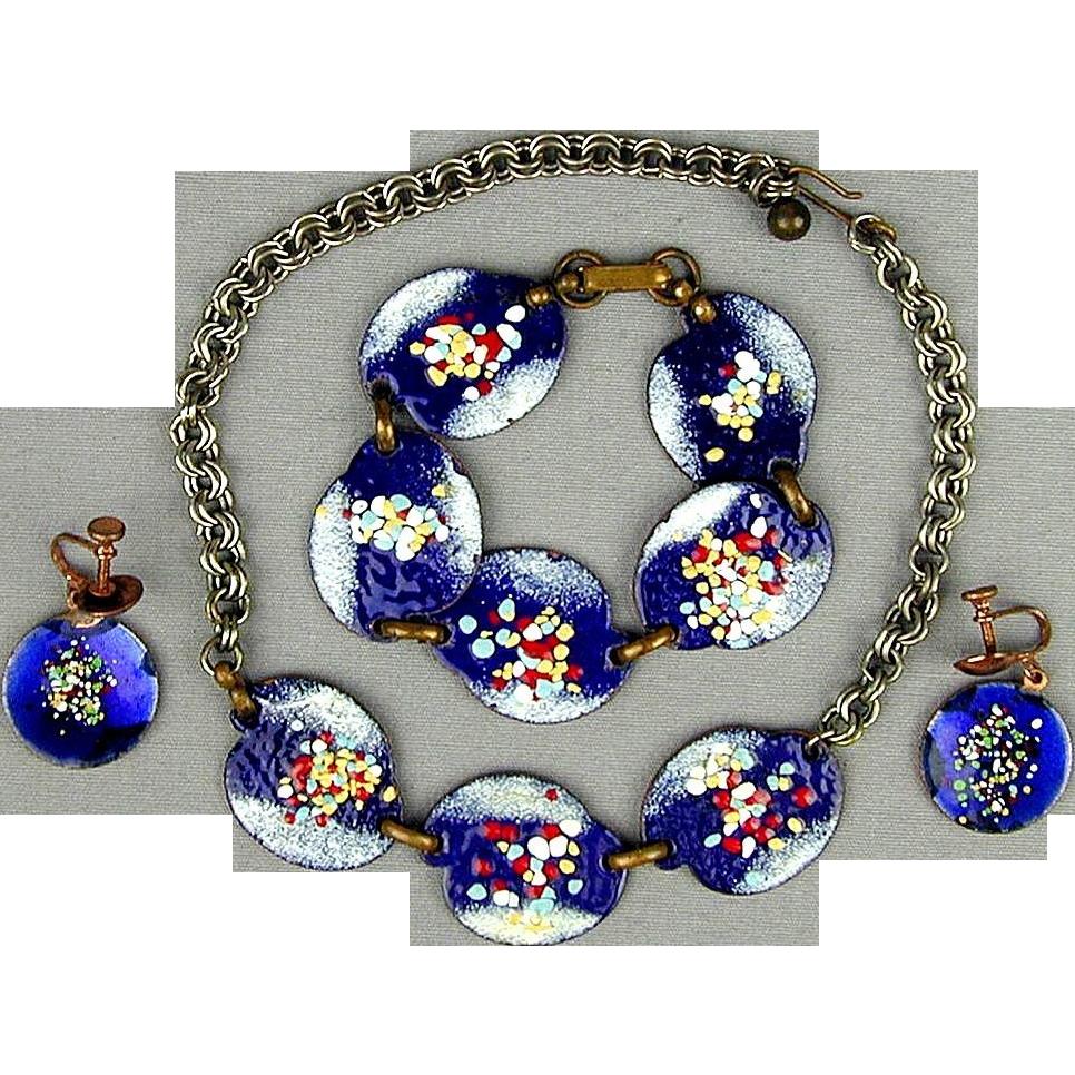 Hand Crafted Enamel House Necklace Pendant Copper Home: Mid-Century Enamel On Copper Parure Necklace Bracelet