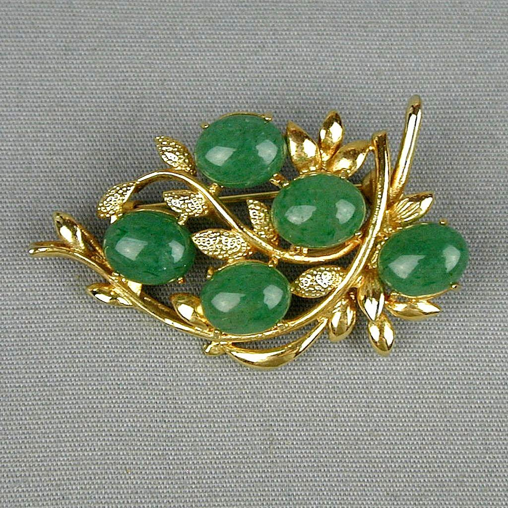 Vintage Jade Fruit Among the Branches Pin Brooch