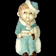 Vintage Porcelain Cowboy Figural Pin Brooch