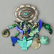 Vintage Sterling Silver Conch Pin w/ Multi Fetish Dangles