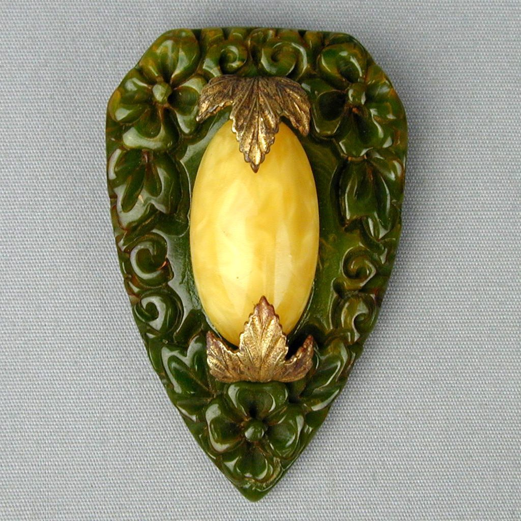 Vintage 1930s Carved Bakelite w/ Old Czech Glass Pin Brooch