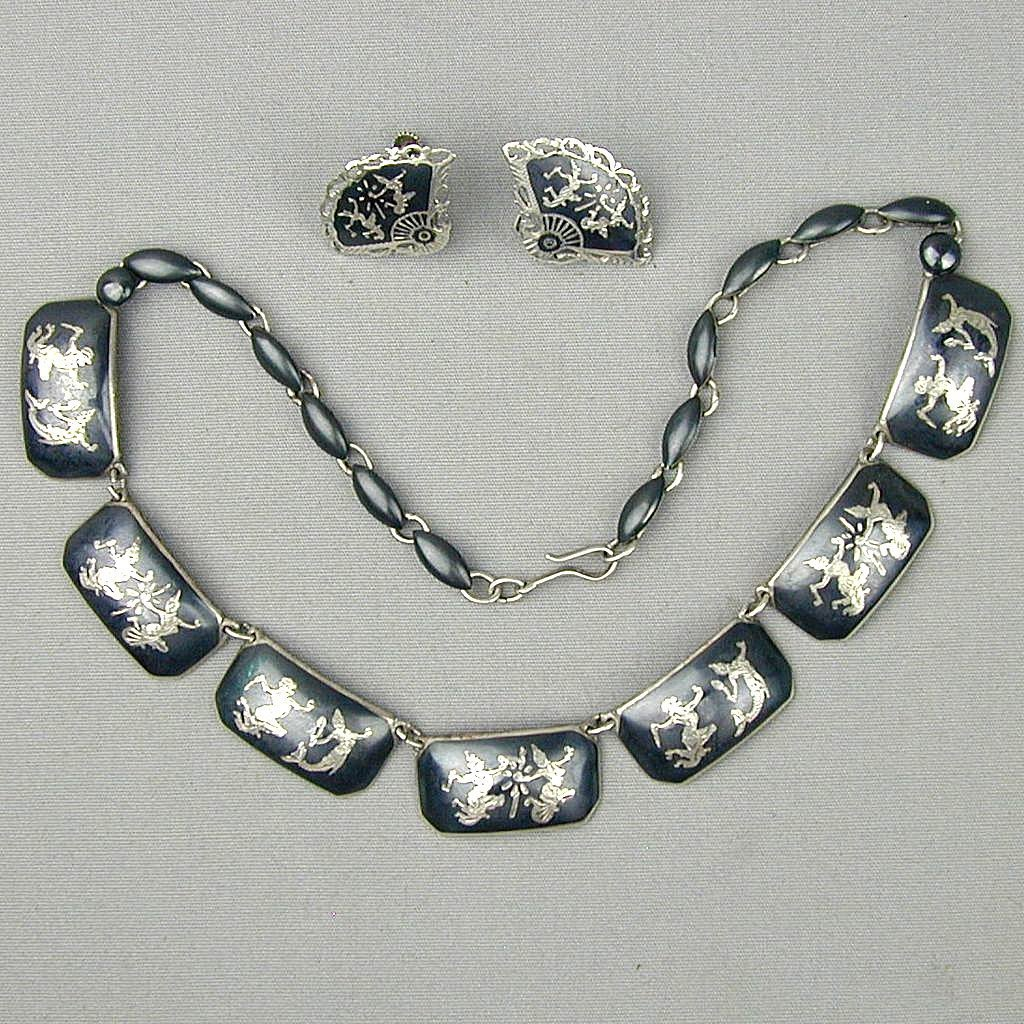 Vintage Siam Sterling Silver Niello Necklace - Earrings Set - Dancers