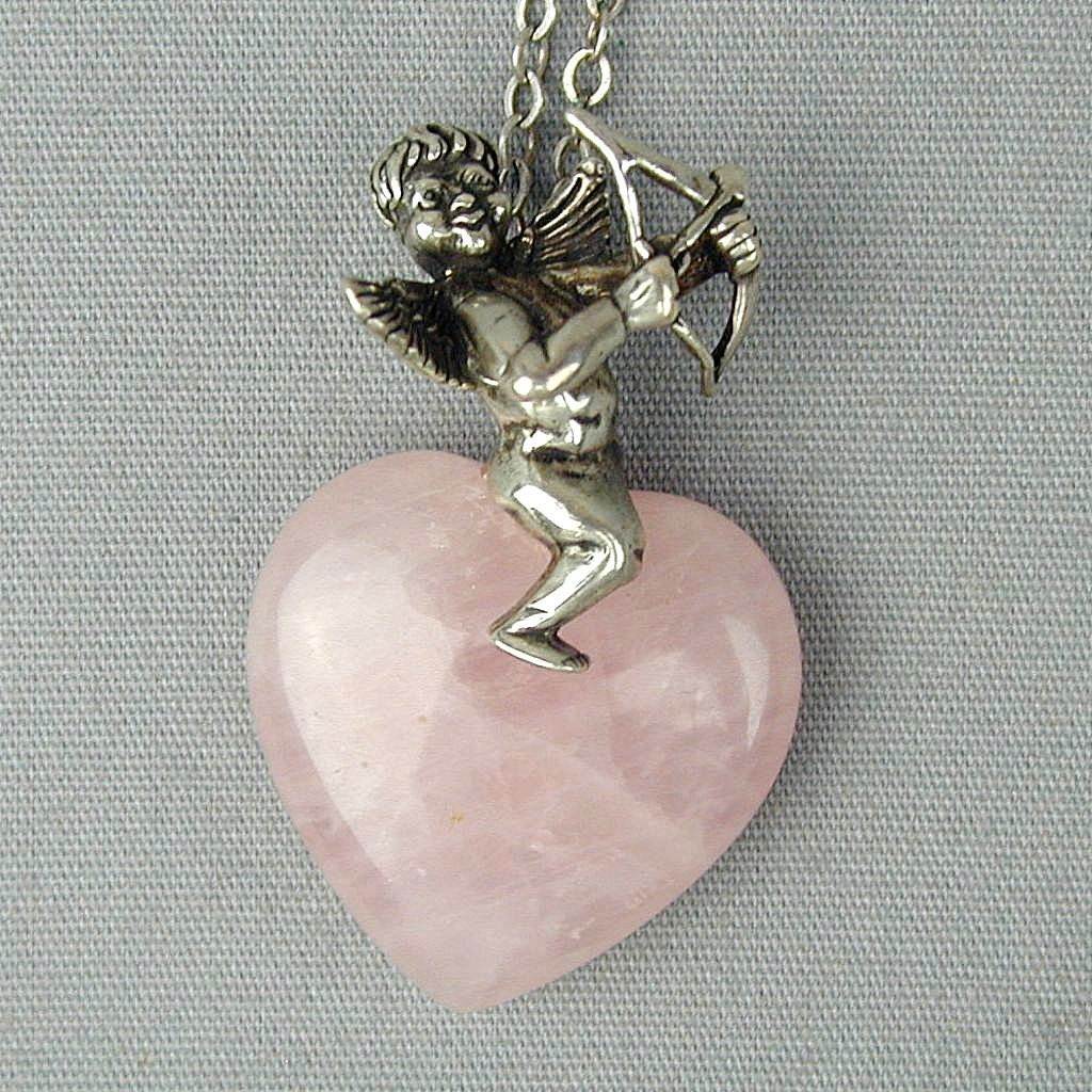 Sterling Silver Angel Cupid on Pink Quartz Heart Pendant Necklace