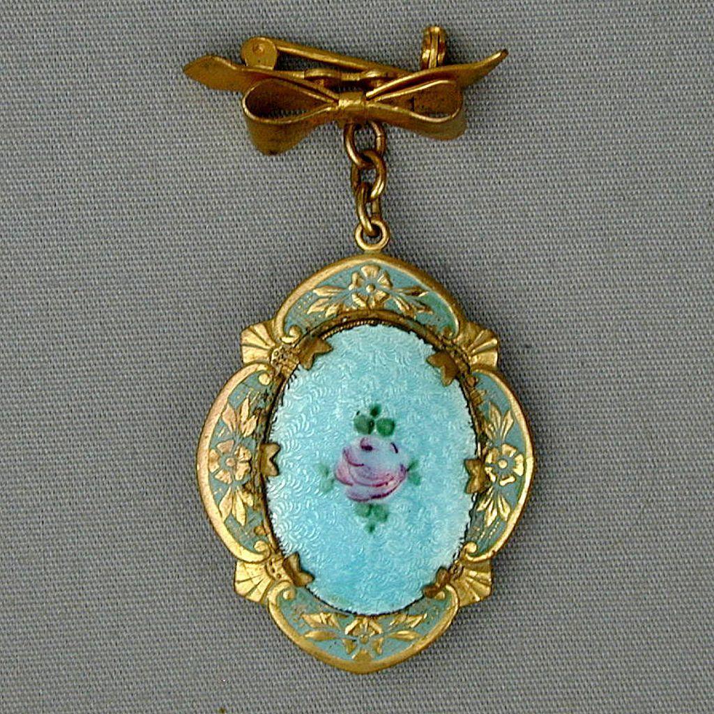 Vintage Enamel Hanging Photo Locket Pin - 1940s