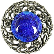Big Vintage CORO Pin Brooch w/ Big Faux Glass Lapis