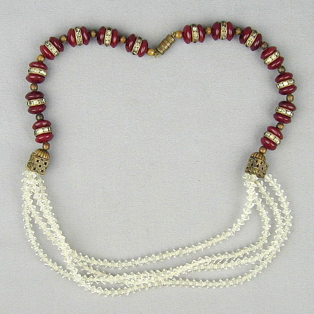 Unusual Art Deco Bead Necklace - Carnelian w/ Multi Crystal Strands