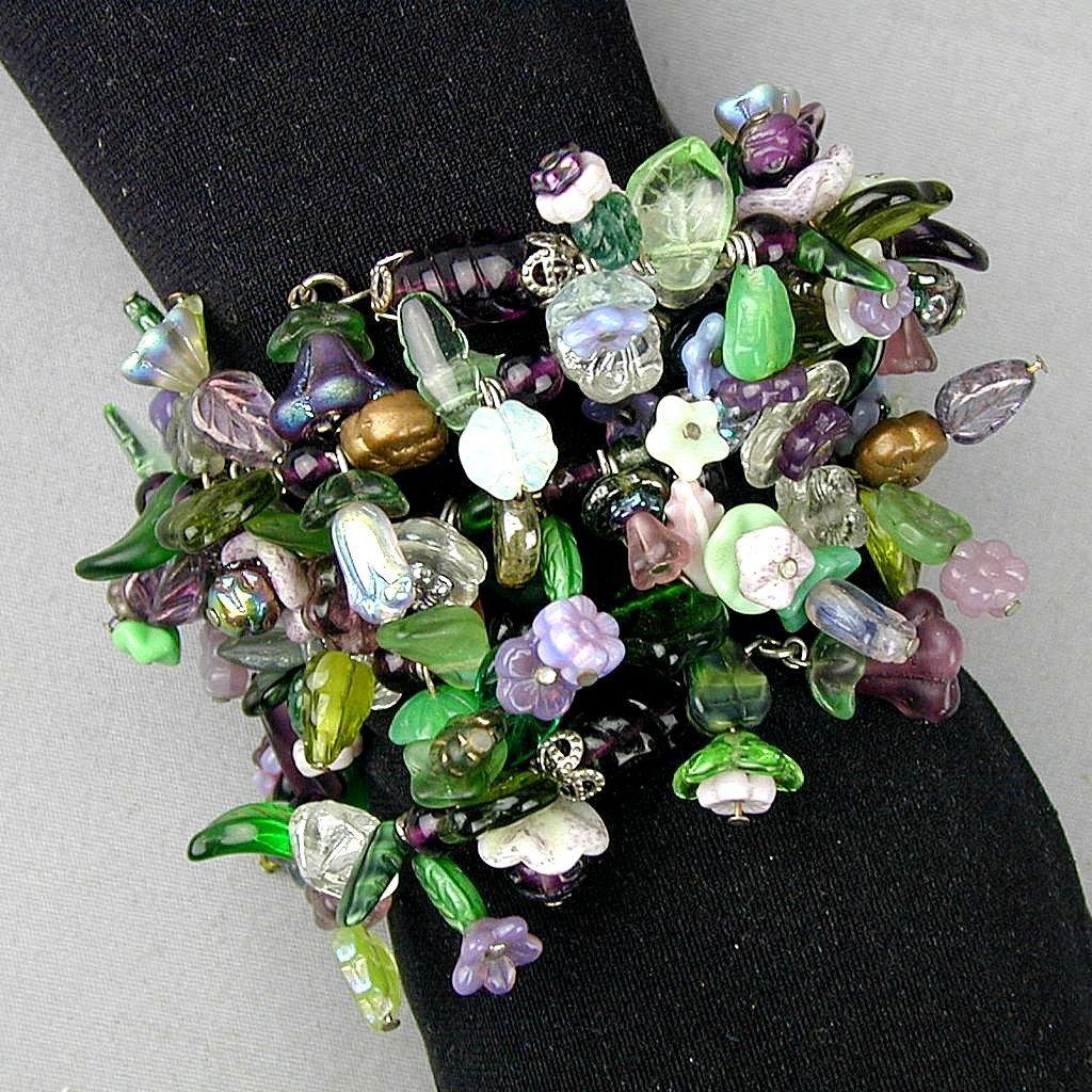 Vintage Multi Spiral Glass Charm Bracelet Floral ~ Fruit Salad ~
