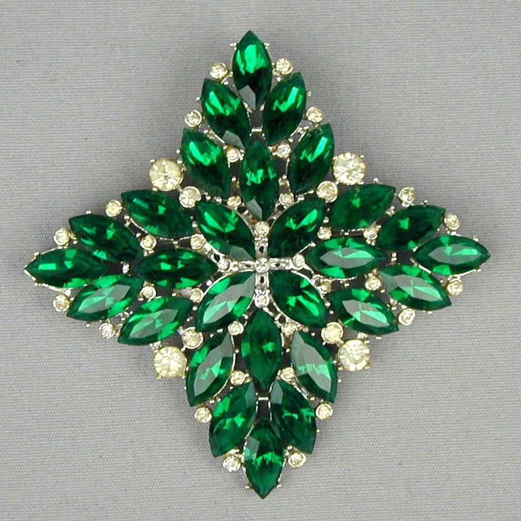 Large Emerald Green - Clear White Rhinestone Pin Brooch