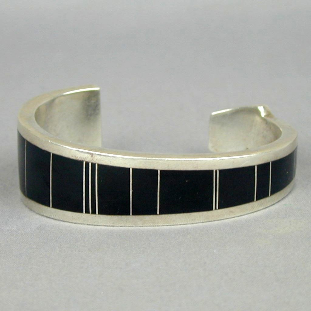 Sterling Silver Onyx Inlay Cuff Arrow Bracelet Ray Tracey Knifewing