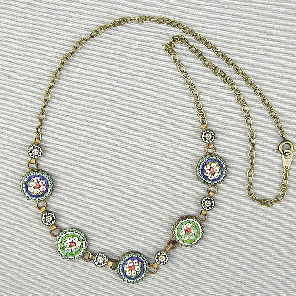 Vintage Italian Micro Mosaic Tile Floral Necklace - Early 1900s
