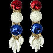 Vintage 1970s Sequin Patriotic Long Earrings Red White Blue Shoulder Dusters