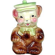 Vintage 1950s American Bisque Bear w/ Hat Cookie Jar USA - Exc.