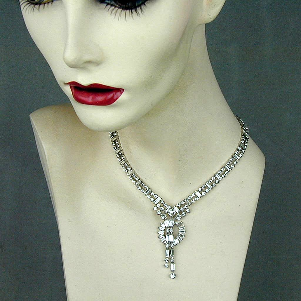 Vintage 1950s PARCO Clear Crystal Rhinestone Necklace - Pure Glam