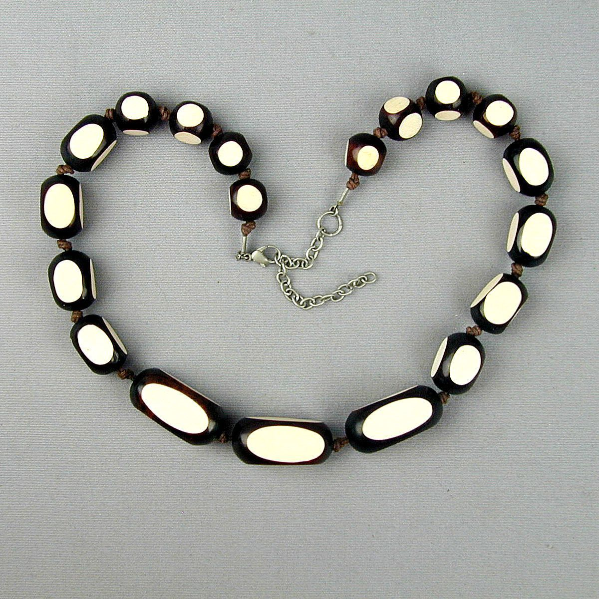 Vintage Encased White in Black Modernist Bead Necklace - Pop Art Era