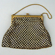 Vintage Whiting and Davis Black - Gold Mesh Handbag Purse