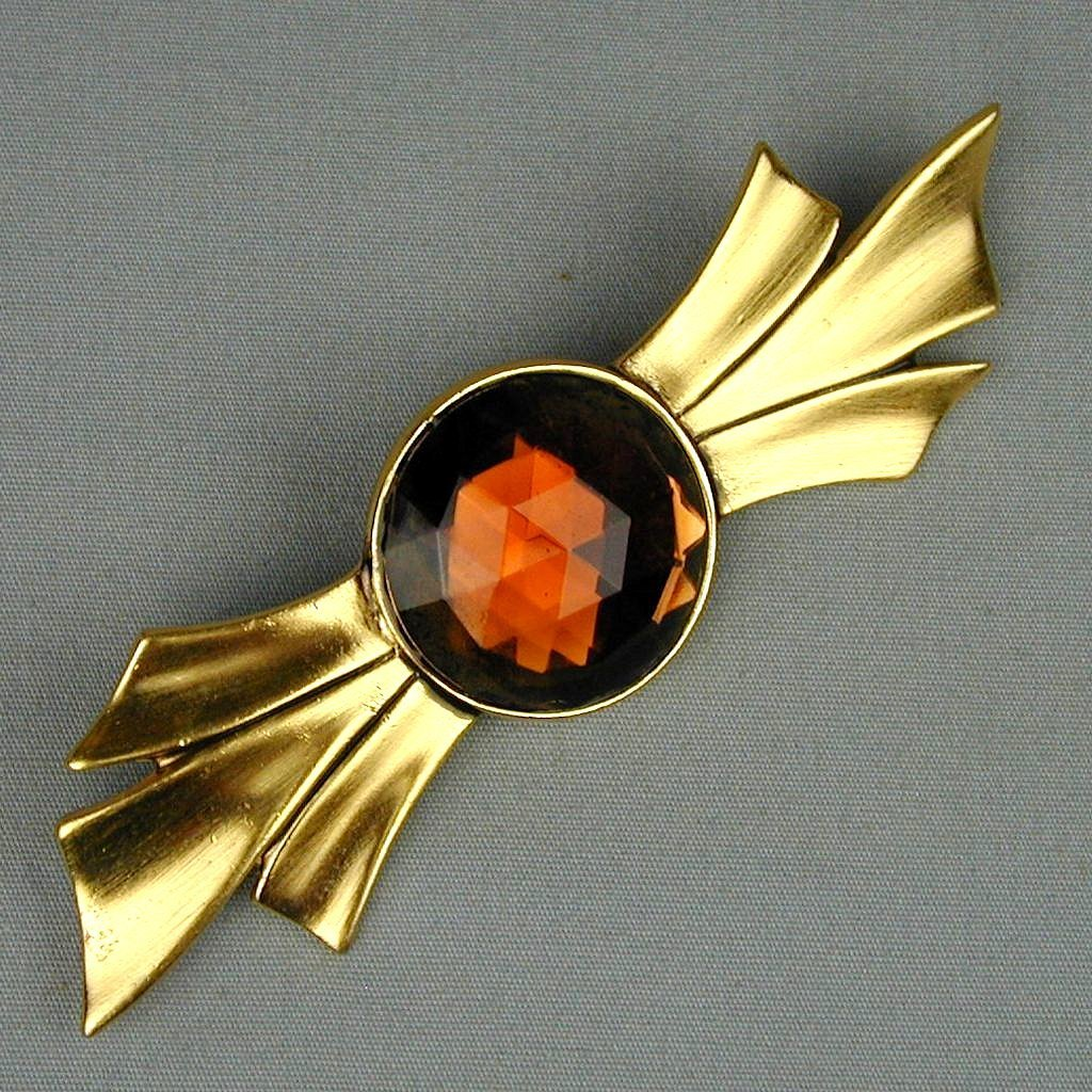 Vintage BEN-AMUN Big Jeweled Kinda-Like a Bowtie Pin Brooch