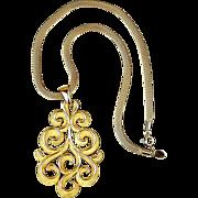 Vintage Crown Trifari Modernist Gold-Tone Pendant Necklace