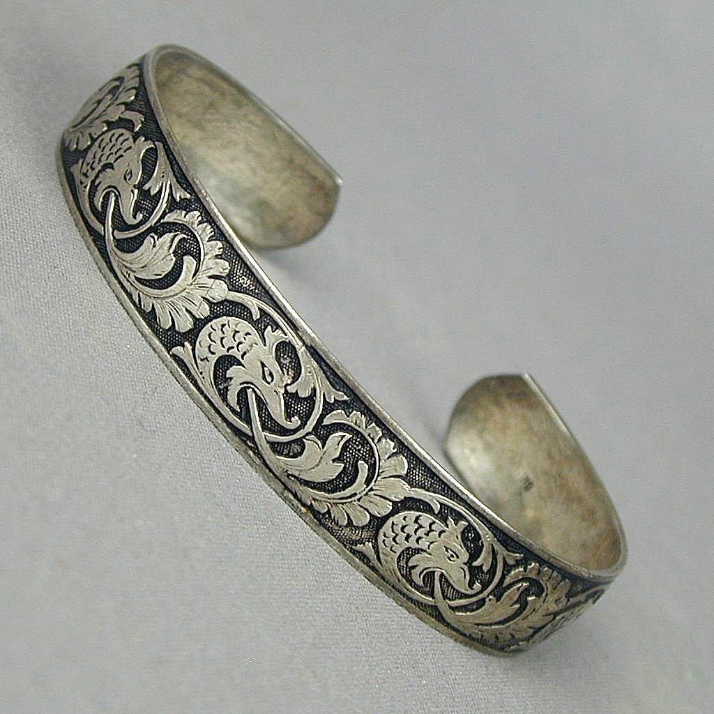 vintage sterling silver hand engraved cuff bracelet fire. Black Bedroom Furniture Sets. Home Design Ideas