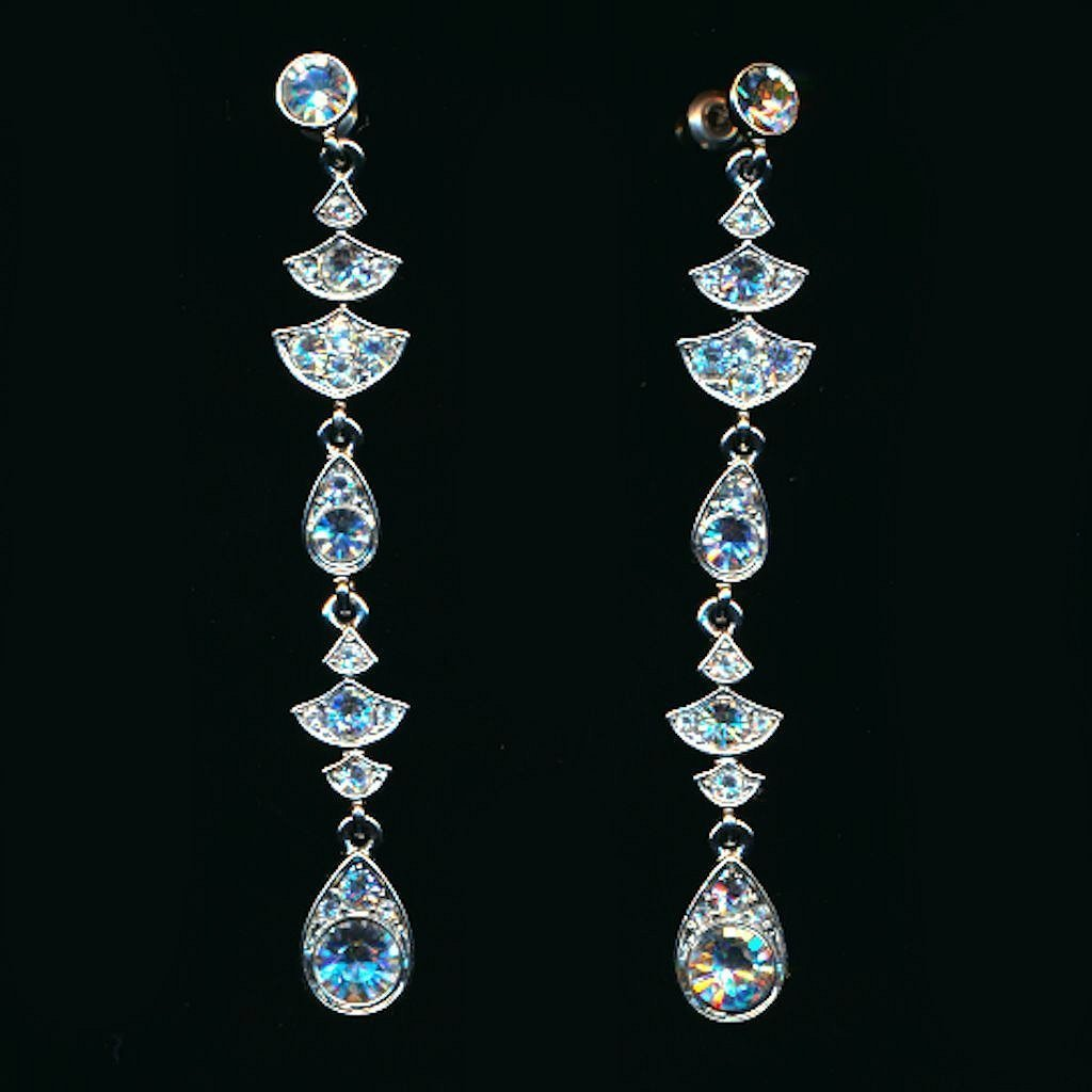 Vintage Givenchy Dripping Crystal Rhinestone Earrings Dazzling Dangles