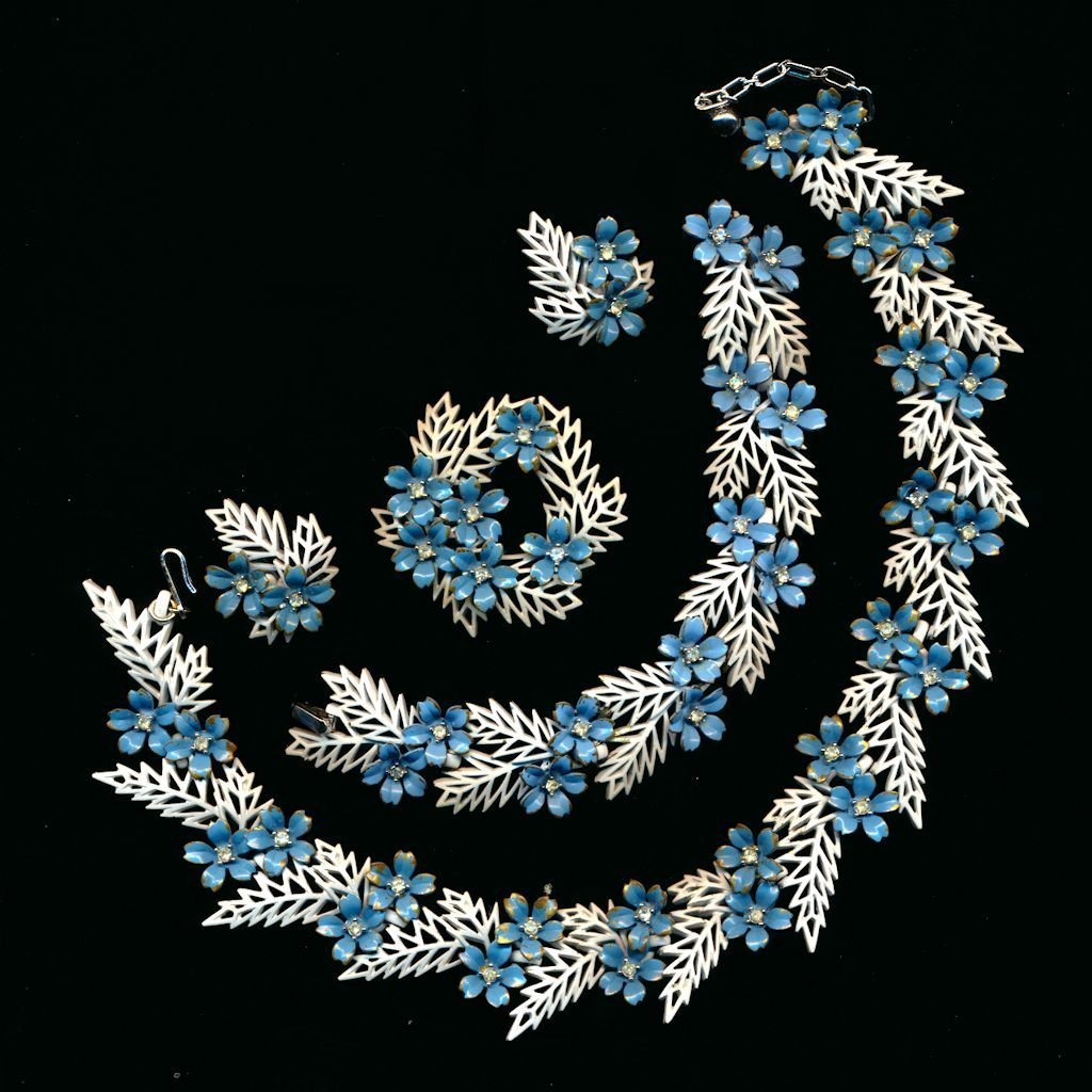 Rare 1958 Trifari Flowering Fern Full Parure - 4 Pc. Set - Enamel w/ Rhinestones
