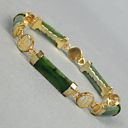 Vintage Chinese Jade Gold-Tone Link Bracelet w/ Messages