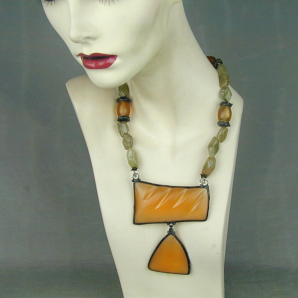 Vintage MAYA Big Bold Runway Necklace - Resin - Stone - Glass - Metal