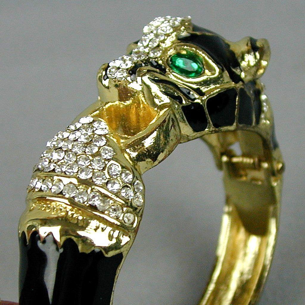 Vintage Sleek Black Cat Clamper Bracelet Enamel Rhinestones