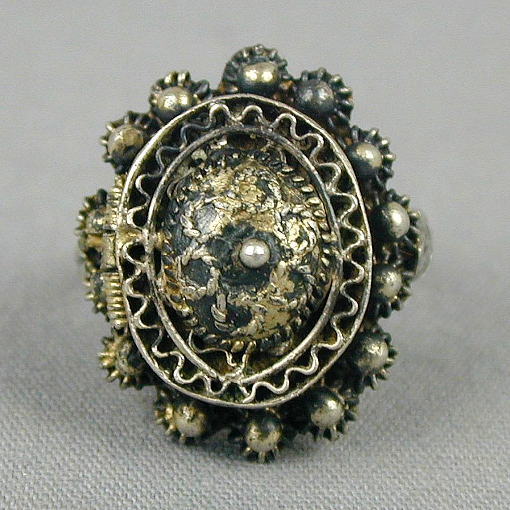 Old Silver Poison Pill Ring - Ornate Handmade Pillbox