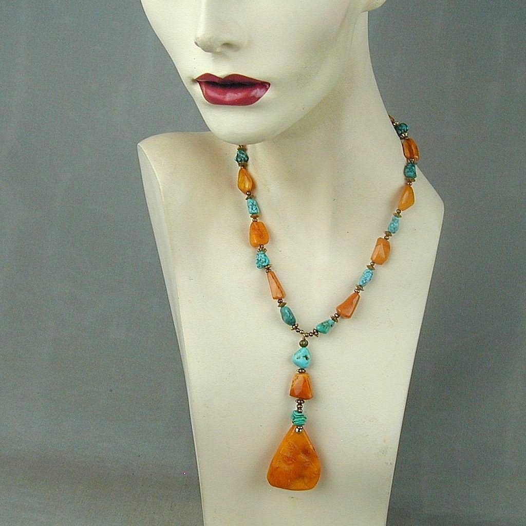 Baltic Egg Yolk Amber Kingman Turquoise Bead Necklace w/ Carved Pendant
