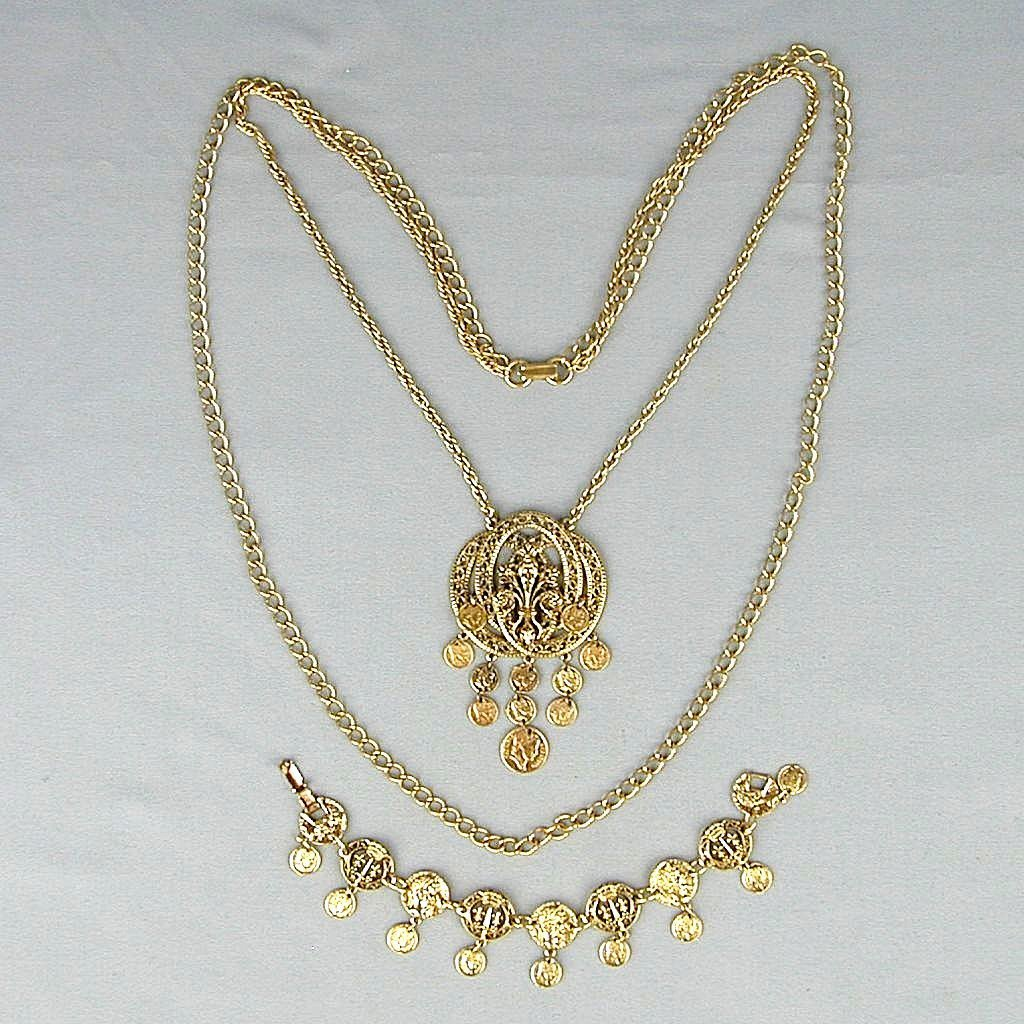 Vintage ART Florentine Gilded Coin Necklace - Bracelet Set