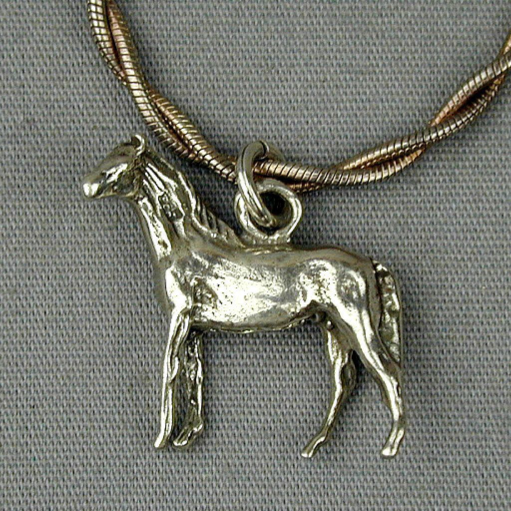 Sterling Silver Horse Charm Pendant on Sterling Chain