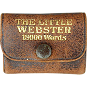 Old Miniature Leather Book ~ The Little Webster ~ 18,000 Word Dictionary