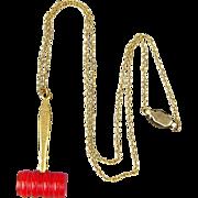 Old 1930s Masonic Rainbow Girls Bakelite Gavel Pendant Necklace
