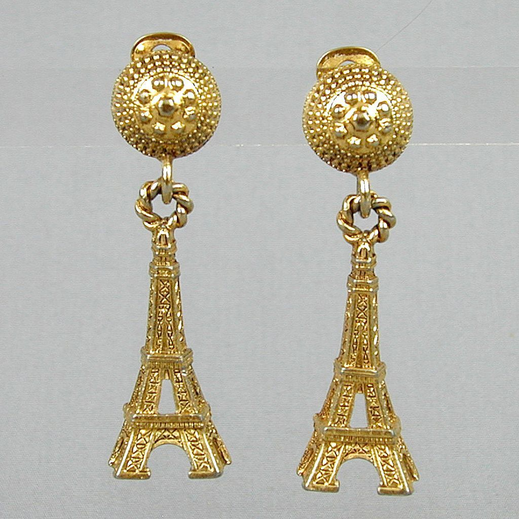 Viva la Vintage Eiffel Tower Clip Earrings