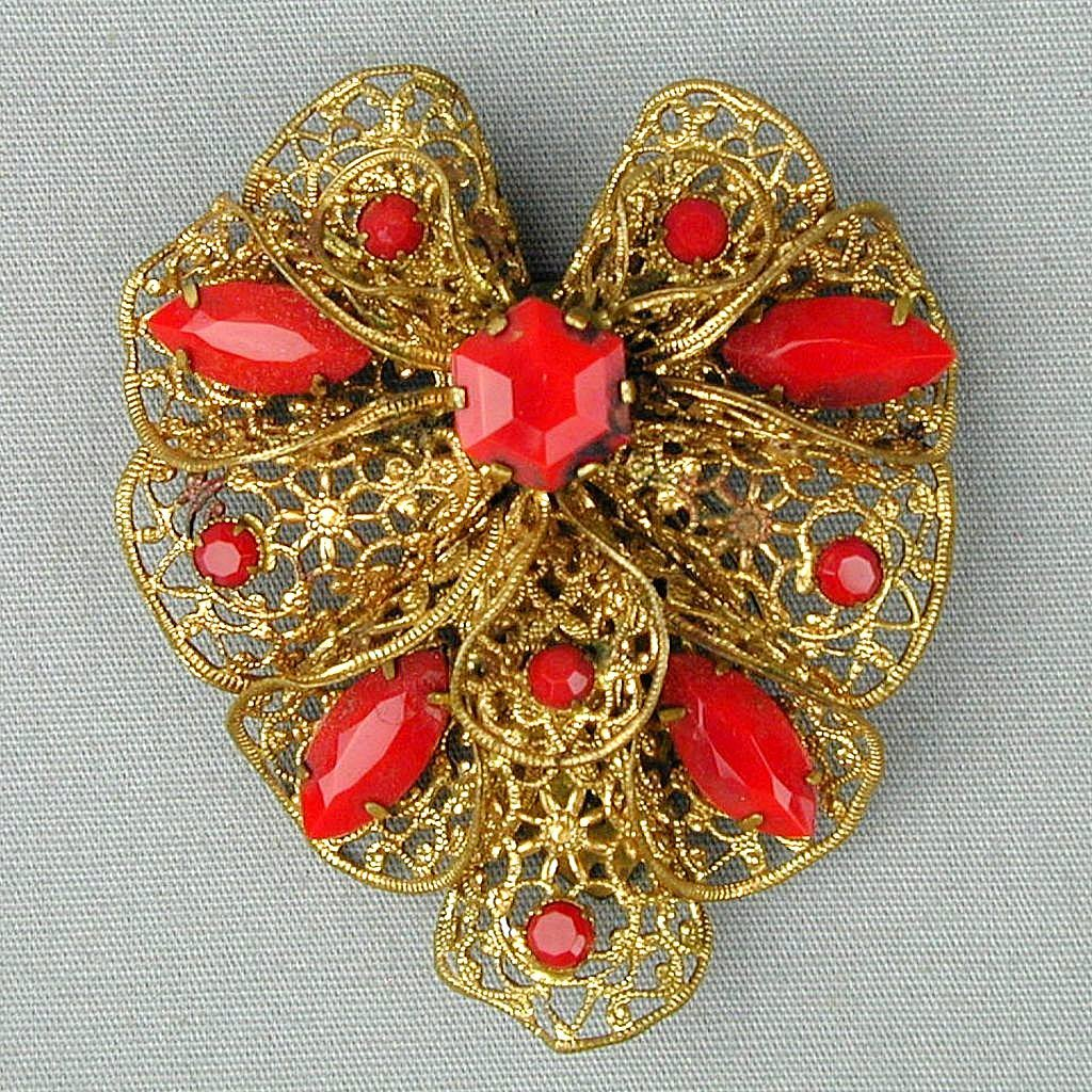 Vintage 1920s Czech Deco Brass Filigree Red Glass Rhinestone Clip